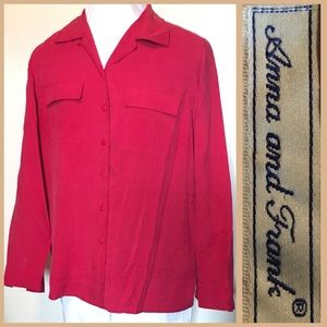 Vintage 80s Red 100% Silk Blouse Button Down